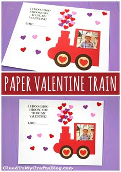 "Paper Valentine Train - Not only is a great craft to make together BUT your child can also GIFT their masterpiece to someone special in their life! ""I CHOO CHOO choose you to be my Valentine"" Free Train Printable Included! Preschool Valentine Crafts, Cute Kids Crafts, Valentine's Day Crafts For Kids, Valentines Day Activities, Valentine Day Crafts, Printable Valentine, Homemade Valentines, Valentine Wreath, Valentine Box"