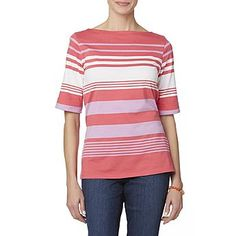 Basic Editions Women's Boat Neck T-Shirt - Striped