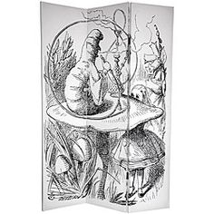 Omg I want      @Overstock - This room divider lets you journey through the looking glass with fantastic 'Alice in Wonderland' children's storybook art. Handmade of high-quality wood, this room divider will add an elegant touch to any room.http://www.overstock.com/Worldstock-Fair-Trade/Canvas-Double-sided-6-foot-Alice-in-Wonderland-Room-Divider-China/4749907/product.html?CID=214117 $124.99