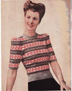 1940s Fair Isle sweater knitting pattern PDF download format