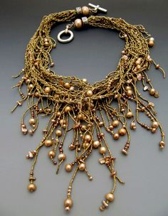 ~~Lucia Antonelli~~ braided seed bead necklace with pearls and fringe