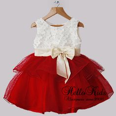 Baby Girl Dresses White And Beige Bows Infant Party Princess Dresses Mom Dress, Dress With Bow, Baby Dress, Dress Red, White Dress, Baby Girl Party Dresses, Birthday Dresses, Girls Dresses, Girls Christmas Outfits