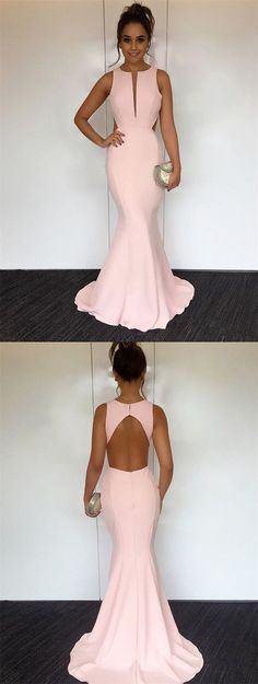 mermaid key-hole prom party dresses, pink fashion formal evening gowns.