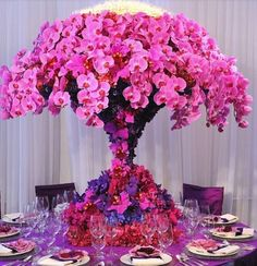 Centro de mesa para boda, orquídeas, rosa, morado, wedding centerpiece, pink, purple, orchid, phalaenopsis, cattleya.