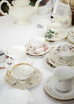 I love the shabby chic look of mismatched tea cups, all coming together to tell a story over tea and biscuits