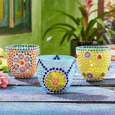 Two's Company Fiesta Cubana Mosaic Tealight Candle Holder/Vase Assorted 3 Designs - Glass – Modish Store Mais Mosaic Garden Art, Mosaic Tile Art, Mosaic Vase, Mosaic Flower Pots, Mosaic Diy, Mosaic Crafts, Mosaic Ideas, Mosaic Bottles, Mosaic Planters