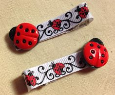 """Ladybug Cutie Hair Clip  - 2"""" Clip Set - Great Accessories for Your Little Girl - Free Shipping  on Etsy, $4.00"""