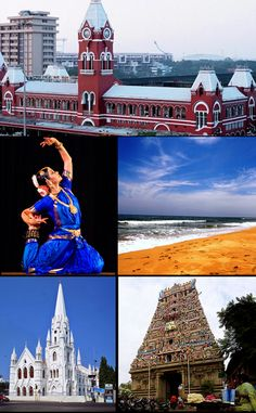 Clockwise from top: Chennai Central, Marina Beach, Kapaleeswarar Temple, Santhome Basilica, Bharata Om Namah Shivaya, Chennai, Hotel Design Architecture, Berlin Hotel, Marina Beach, Collage, Largest Countries, Tourist Places, Top Destinations