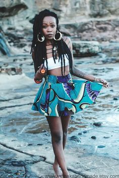 One of a kind African Ankara Print high waisted mini skater skirt ~Latest African Fashion, African Prints, African fashion styles, African clothing, Nigerian style, Ghanaian fashion, African women dresses, African Bags, African shoes, Kitenge, Gele, Nigerian fashion, Ankara, Aso okè, Kenté, brocade. ~DKK