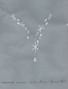 As it's snowing outside it seems appropriate to pin a design reflective of the weather...this is my fantasy vision for a snowflake necklace in diamonds