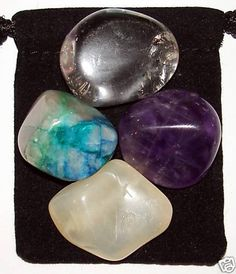 PRE-MENSTRUAL Syndrome PMS Tumbled Crystal Healing Set - 4 Gemstones w/Description & Pouch - Amethyst, Chrysocolla, Moonstone, and Quartz.. works! :-) or just grab a moon stone