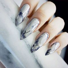 Delicate marble styled nails