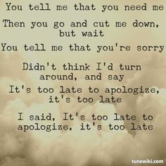 "charming life pattern: ""Apologize"" by OneRepublic - quote - song lyrics"
