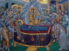 Dormitio Mariae. Mozaïek, 14de eeuw. Constantinopel,  Chora kerk