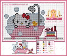 Delicado Cantinho: Gráfico Ponto Cruz Hello Kitty no Banho