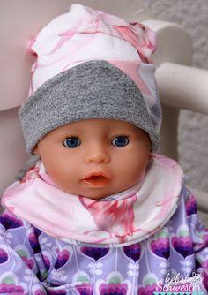 liebste schwester: Puppenkleidung - Jacke mit Beanie und Halssocke im Doppelpack