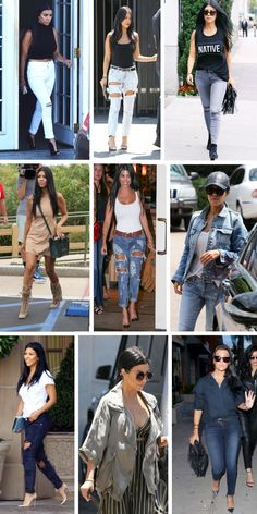 kourtney kardashian, style 2015, ripped jeans, kardashian fashion street style