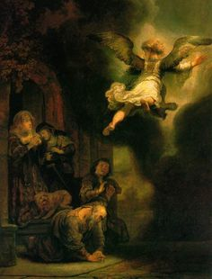 Rembrandt. The Archangel Leaving the Family of Tobias. 1637.
