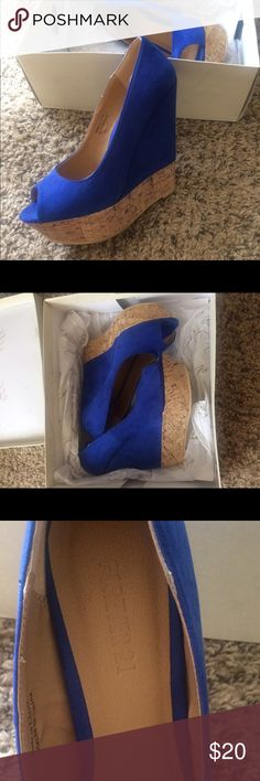 Blue wedges Blue wedges with cork detail bottom Forever 21 Shoes Wedges