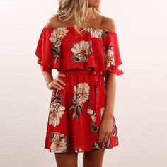 Gender: Women - Brand Name: Ermonn - Model Number: red women dress - Neckline: Slash neck - Sleeve Length(cm): Short - Silhouette: A-Line - Season: Summer - Sleeve Style: Butterfly Sleeve - Style: Casual - Material: Polyester,Spandex - Dresses Length: Above Knee, Mini - Pattern Type: Print - Decoration: Ruffles - Waistline: Natural