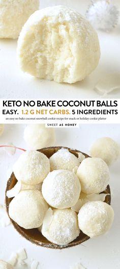 No Bake Coconut Balls Recipe Healthy + Easy - Sweetashoney - Keto - Healthy recipes easy Low Carb Sweets, Low Carb Desserts, Healthy Sweets, Healthy Dessert Recipes, Keto Snacks, Low Carb Recipes, Baking Recipes, Cake Recipes, Health Desserts