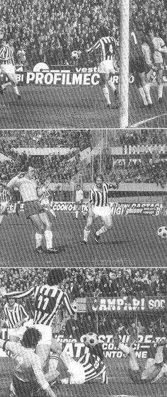 Juventus 2 Lazio 0 in Feb 1977 at Stadio Comunale. Action from Turin in Serie A.