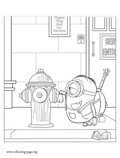 It Seems That Stuart Is Delighted With The Fire Hydrant Print And Color This Free Printable Minions Coloring Sheet Have Fun