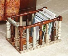 Such a great idea! Repurpose antique staircase spindles to make a magazine rack or basket