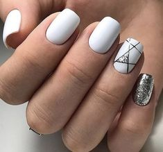 Nails beautiful nail design glitter winter nails white nails Wedding Cake Toppers: Important Things White Nail Designs, Short Nail Designs, Acrylic Nail Designs, Cool Nail Designs, Acrylic Art, White Nails With Design, Stripe Nail Designs, Nail Designs For Summer, Acrylic Tips