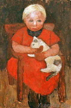 Girl with a cat, Painting by German artist Paula Modersohn-Becker Paula Modersohn Becker, She And Her Cat, George Grosz, Female Painters, Digital Museum, Art Japonais, Collaborative Art, Famous Artists, Cat Art