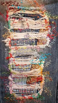 Textile Art 473018767105601794 - Distressed denim jeans, patchwork, boro, stitched, embroidery Source by anaslenoir Sashiko Embroidery, Embroidery Art, Embroidery Stitches, Embroidery Patterns, Embroidery On Jeans, Knitting Stitches, Sewing Hacks, Sewing Crafts, Sewing Projects