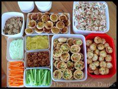 Finger foods - hommus, tomato and cashew dip, quinoa and spelt crackers, mini quiche lorraine, thai chicken wonton cups, beef rendang pies, portugese tarts, lavender shortbread.