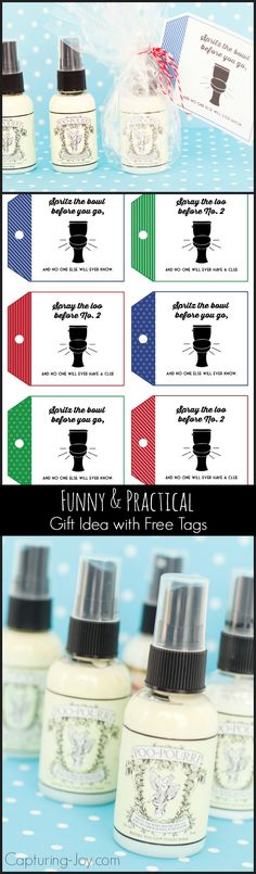 Poo-Pourri Gift Idea and free Printable Tag Funny and Practical Gift Idea Poo Pourri with tags. Free Printable Tags, Free Printables, Gag Gifts, Craft Gifts, Poo Spray, Decoupage, Poo Pourri, Practical Gifts, Birthday Diy