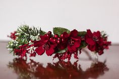 Red Flower Crown - Christmas Halo- Wedding - Newborn Photo Prop - Wedding Crown - Floral Hairpiece by LittleLadyAccessory on Etsy