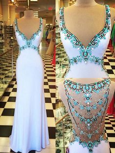 Glamorous Beadings Crystal V-Neck Evening Dress Sleeveless Long Party Gowns PROM DRESSES from olesa wedding shop Elegant Dresses, Pretty Dresses, Beautiful Dresses, Formal Dresses, Cheap Dresses, Fall Dresses, Long Dresses, Long Party Gowns, Beaded Prom Dress
