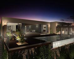 Vista 3D exterior nocturna de la villa tipo de 1 planta. #3d #architecture3d #artlantis #Archicad #model3d #design3d #design #rendering #renderings #render