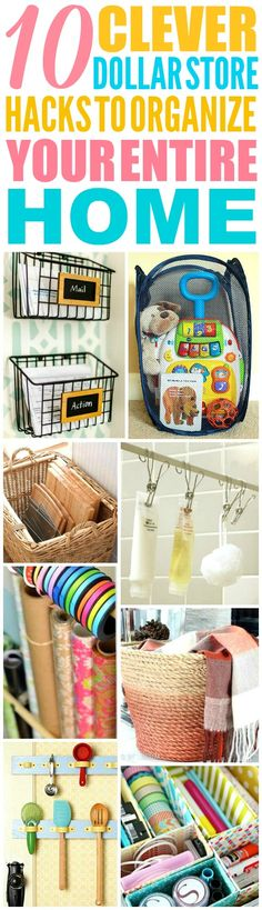 These 10 dollar store storage hacks for every room are THE BEST! I'm so happy I found these GREAT tips! Now I have great ways to keep my home clean and organized! Definitely pinning!