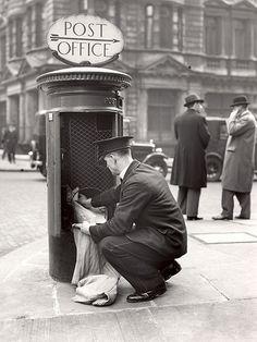 +~+~ Vintage Photograph ~+~+   Postman clearing pillar box