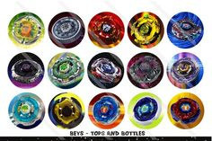 BLADE BATTLE TOYS TOPS 1 Inch Circles Bottle Cap Digital File | cherrybonbons - Craft Supplies on ArtFire