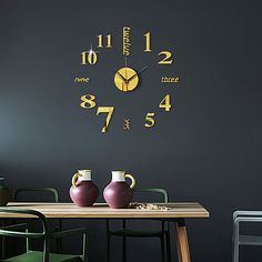 Wall Clock Face, Mirror Wall Clock, Mirror Wall Stickers, Wall Stickers Home Decor, Wall Clock Digital, Wall Clock Analog, Living Room Clocks, Living Room Bedroom, Living Room Decor