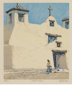 Leon Loughridge, Isleta Mission, woodblock print, 7 x 5 in. At the Gerald Peters Gallery, Santa Fe, NM.