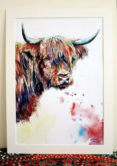 Guy The Highland Cow Limited Edition A3 Painting Watercolour