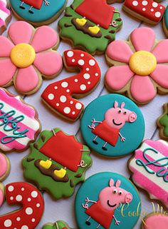 Cookie Momster by Hilary I Peppa Pig Cookies Más Pig Birthday, Baby Girl Birthday, Birthday Cookies, 4th Birthday Parties, Birthday Ideas, Third Birthday, Peppa Pig Cookie, Peppa E George, Cumple Peppa Pig