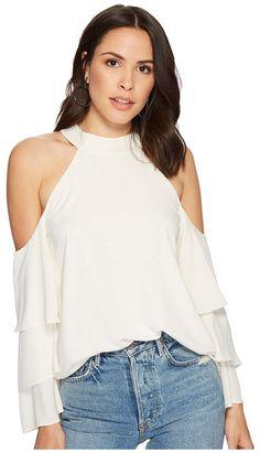 92c3b2910dd71 STATE Mock Neck Cold Shoulder Blouse w  Tiers Women s Blouse Lisa