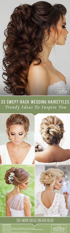 33 Trendy Swept-Back Wedding Hairstyles ❤️ If you are not sure which hairstyle to choose, see our collection of swept-back wedding hairstyles and you will find gorgeous and fancy looks! See more http://www.weddingforward.com/swept-back-wedding-hairstyles/ #wedding #hairstyles #sweptbackweddinghairstyles