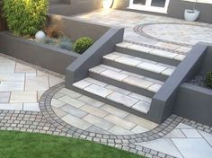 Trust Marshalls and discover beautiful granite garden paving for your path or patio project - Get inspiration and find your local stockist here Back Garden Design, Modern Garden Design, Backyard Garden Design, Contemporary Garden, Patio Design, Backyard Patio, Backyard Landscaping, Backyard Hammock, Courtyard Design