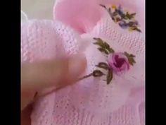 Bebek örgüleri süsleme - YouTube Knitted Baby Clothes, Crochet Baby Hats, Baby Knitting, Filet Crochet, Knit Crochet, Knitting Videos, Crochet Cardigan, Crochet Accessories, Ribbon Embroidery
