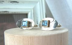 Sterling silver 14k Yellow Gold and Blue by VirginieMartinStudio