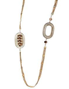 Long Link Bronze Bead Necklace
