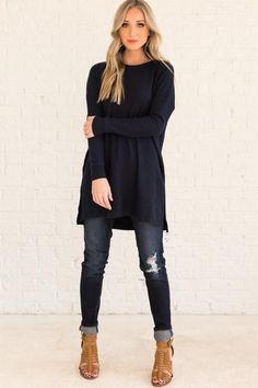d6f23dc583d Navy Blue Cute Affordable Long Sleeve Waffle Knit Tunic Tops Long Tunic  Tops, Long Sleeve